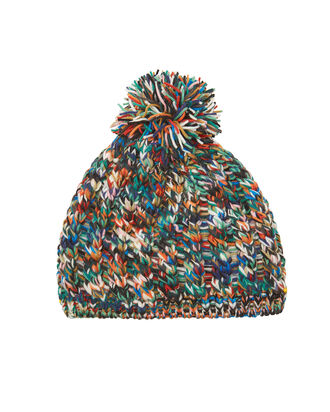 Pom-Pom Knit Beanie, RAINBOW/BLACK, hi-res