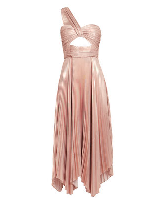 Aurora Pleated One Shoulder Dress, ROSE, hi-res
