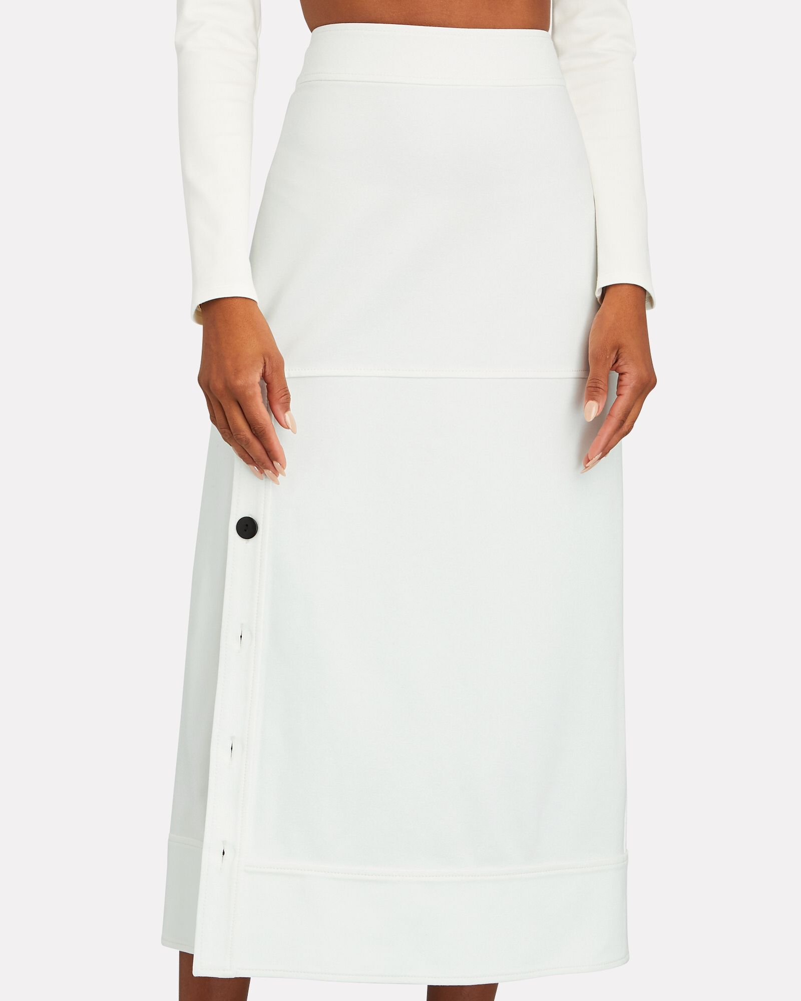 Neicy Buttoned Ponte Midi Skirt, WHITE, hi-res