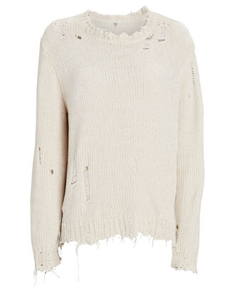 Distressed Chenille Sweater, IVORY, hi-res