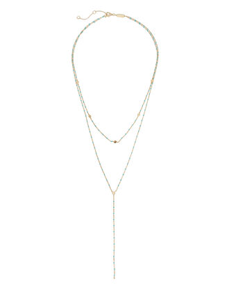 Beaded Lariat Layering Necklace, BLUE-LT, hi-res