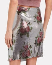 Chainmail Floral Wrap Skirt, SILVER, hi-res