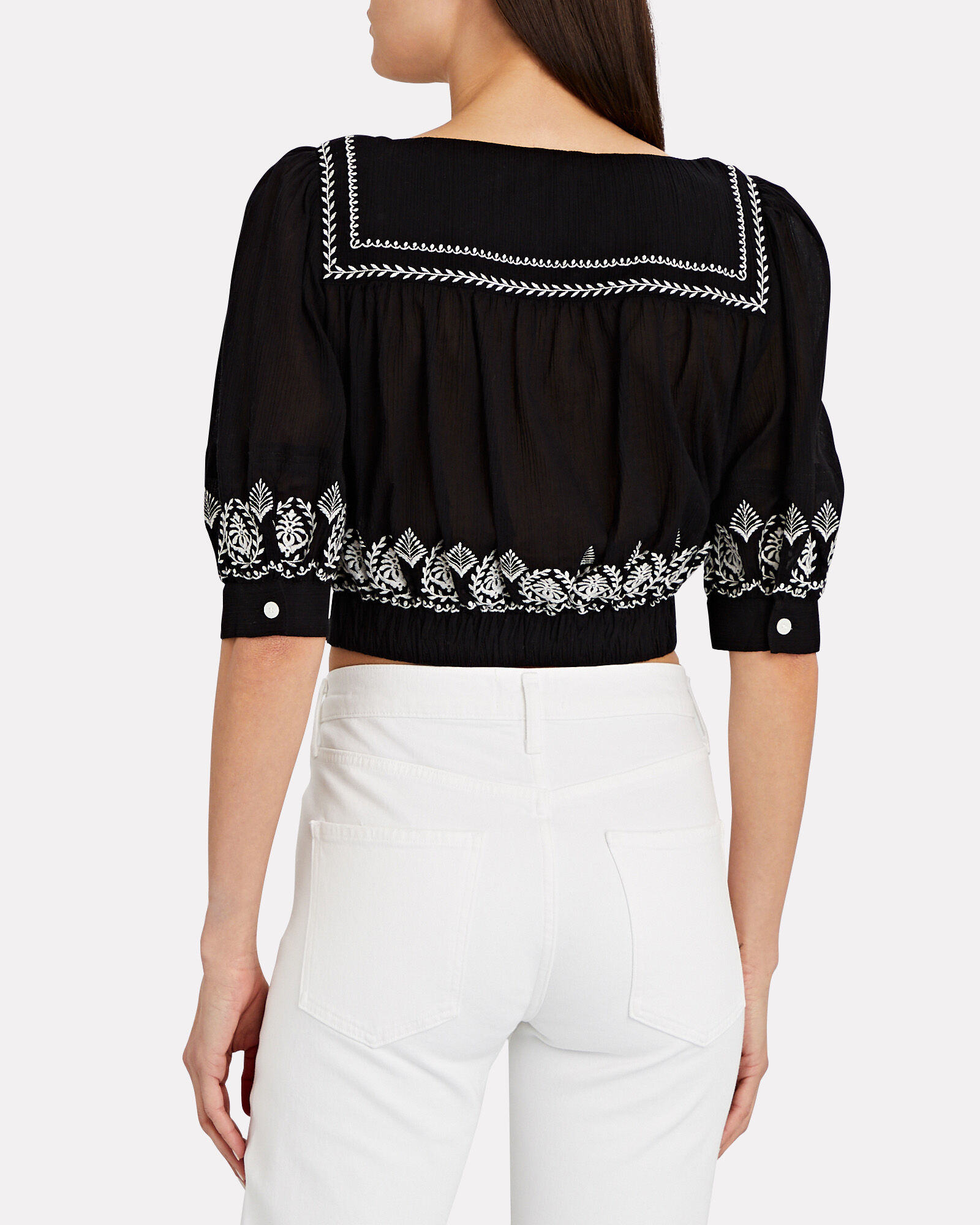 Tama Embroidered Crop Top, BLACK, hi-res