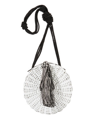 Balaio Tassel Woven  Small Shoulder Bag, WHITE, hi-res