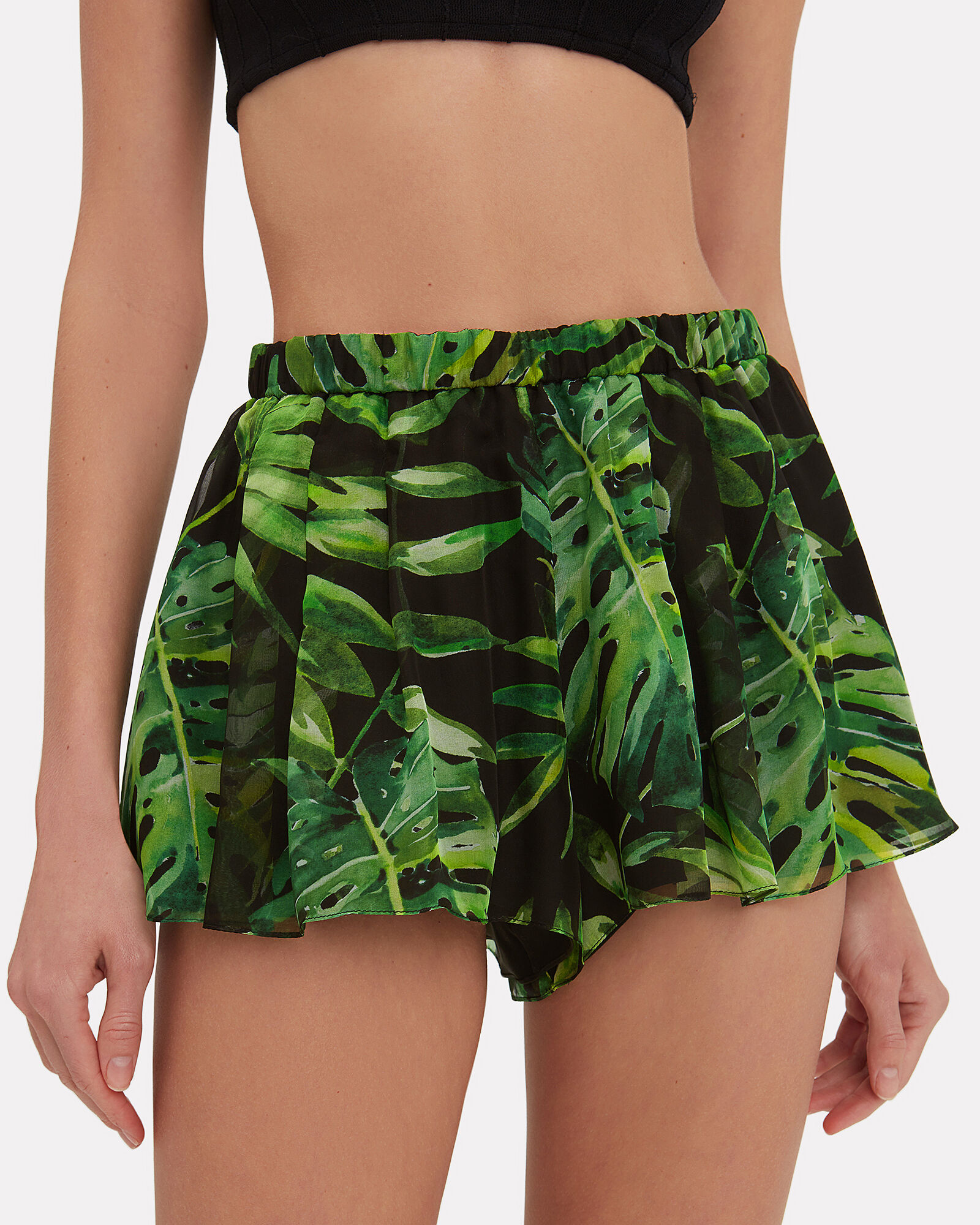 Leaf-Printed Coverup Shorts, MULTI, hi-res