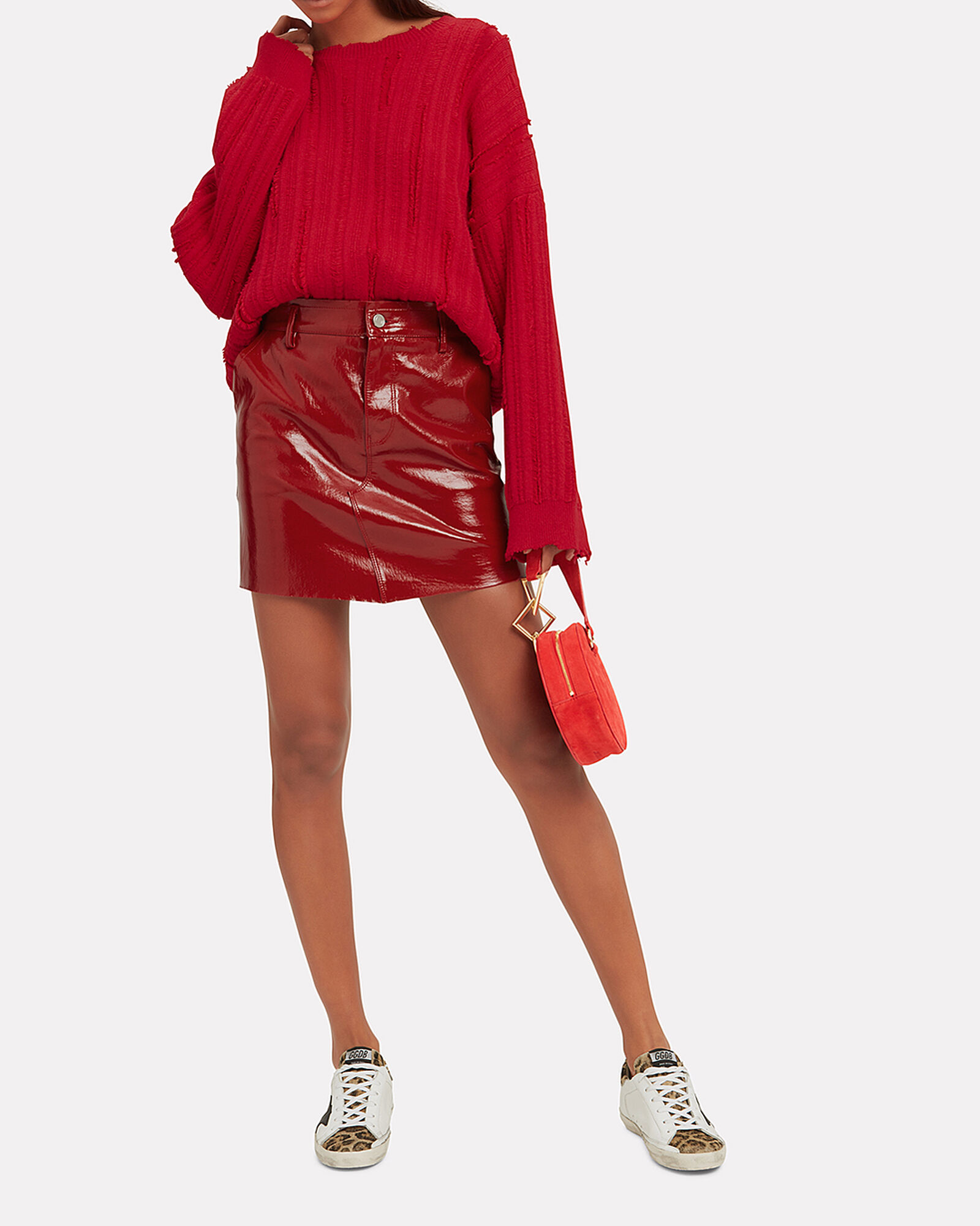 Red Patent Leather Mini Skirt, RED, hi-res