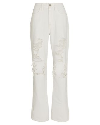 Le Hollywood Straight-Leg Jeans, RUMBLED BLANC, hi-res