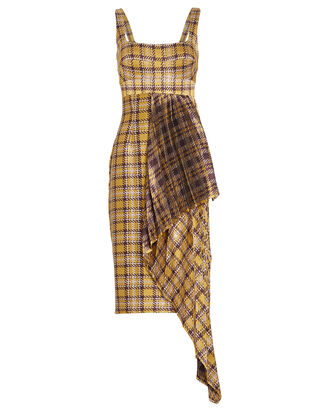 Daudi Pleated Gingham Dress, YELLOW/PLAID, hi-res
