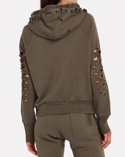 Lisse Distressed French Terry Hoodie, OLIVE/ARMY, hi-res