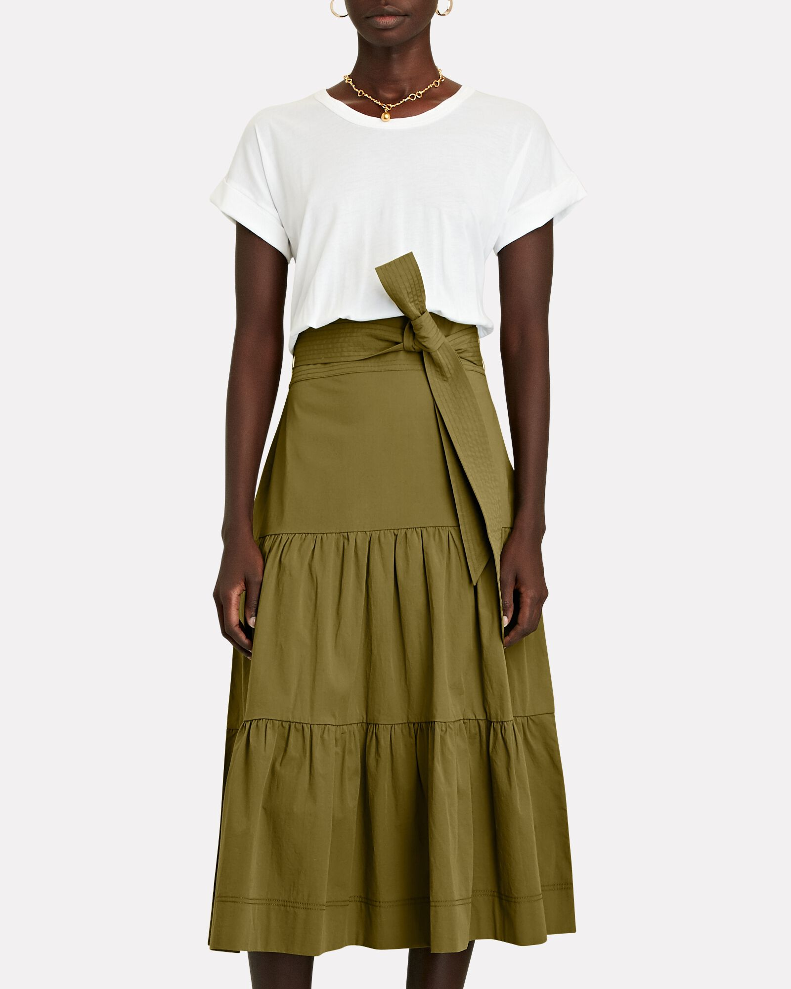 Trail Mixed Media Midi Dress, WHITE/GREEN, hi-res