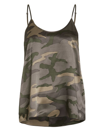 Silk Camoflauge Camisole, GREEN/CAMO, hi-res