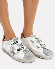 Superstar Old School Glitter Low-Top Sneakers, WHITE/RED/SILVER, hi-res