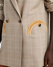 Everday Plaid Double-Breasted Blazer, BEIGE, hi-res