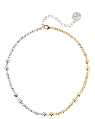 Mixed Metal Ball Chain Necklace, SILVER/GOLD, hi-res