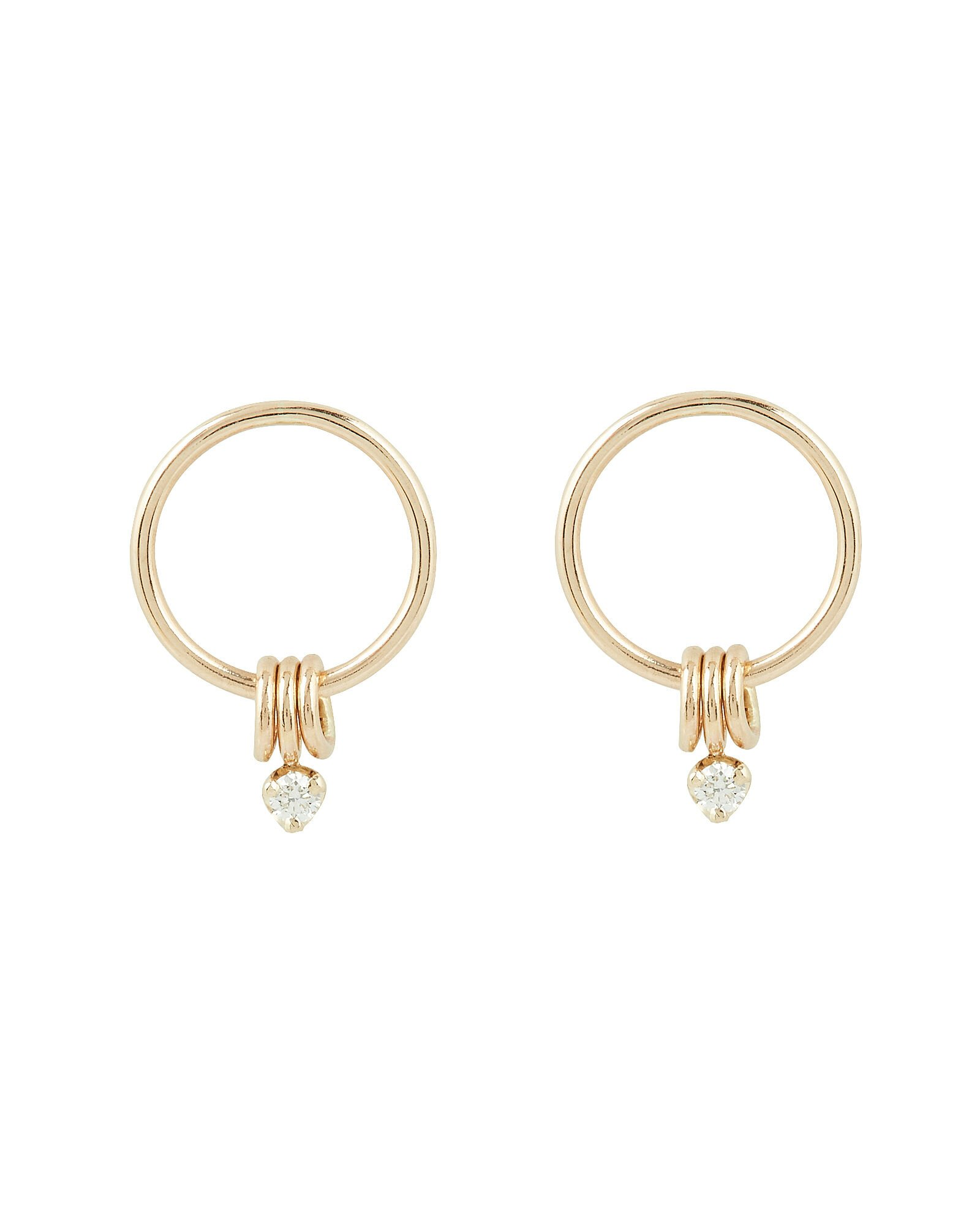 Circle Diamond Earrings, GOLD, hi-res