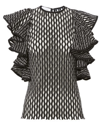 Desina Flounce Sleeve Perforated Knit Tank, BLACK/WHITE, hi-res