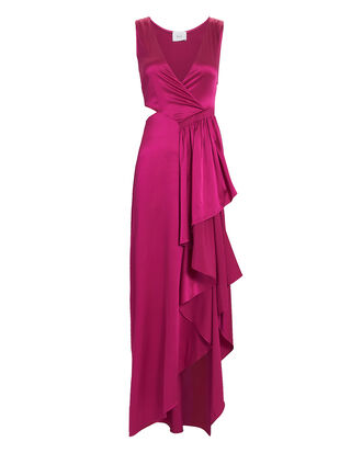 Cantor Cascading Side Ruffle Magenta Dress, PINK-DRK, hi-res
