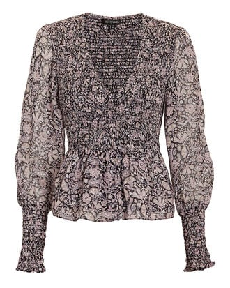 Darcey Paisley Smocked Top, BLACK, hi-res