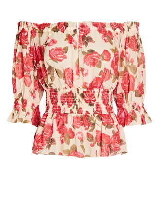 Aubriella Floral Off-The-Shoulder Top, MULTI, hi-res