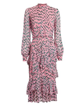 Isa Printed Long Sleeve Midi Dress, PINK, hi-res