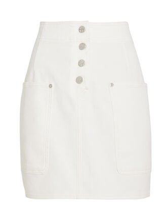 Shannon Denim Skirt, WHITE DENIM, hi-res