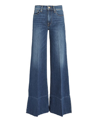 Palazzo Side Slit Hem Jeans, DARK BLUE DENIM, hi-res