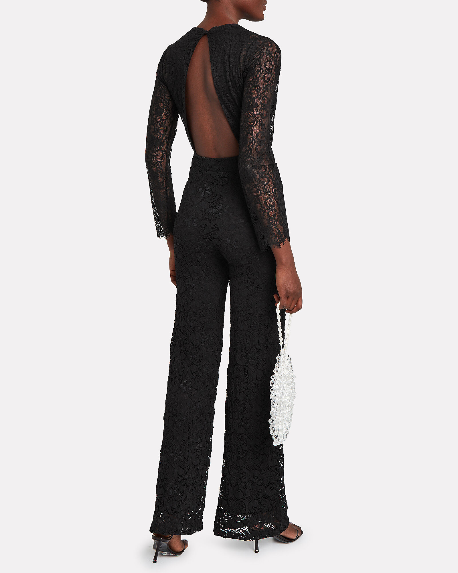Serata Flared Lace Jumpsuit, BLACK, hi-res