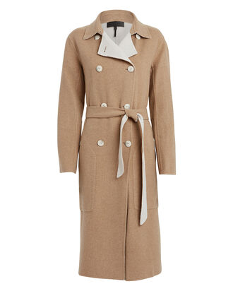 Rach Reversible Wool-Blend Trench Coat, TAN/IVORY, hi-res