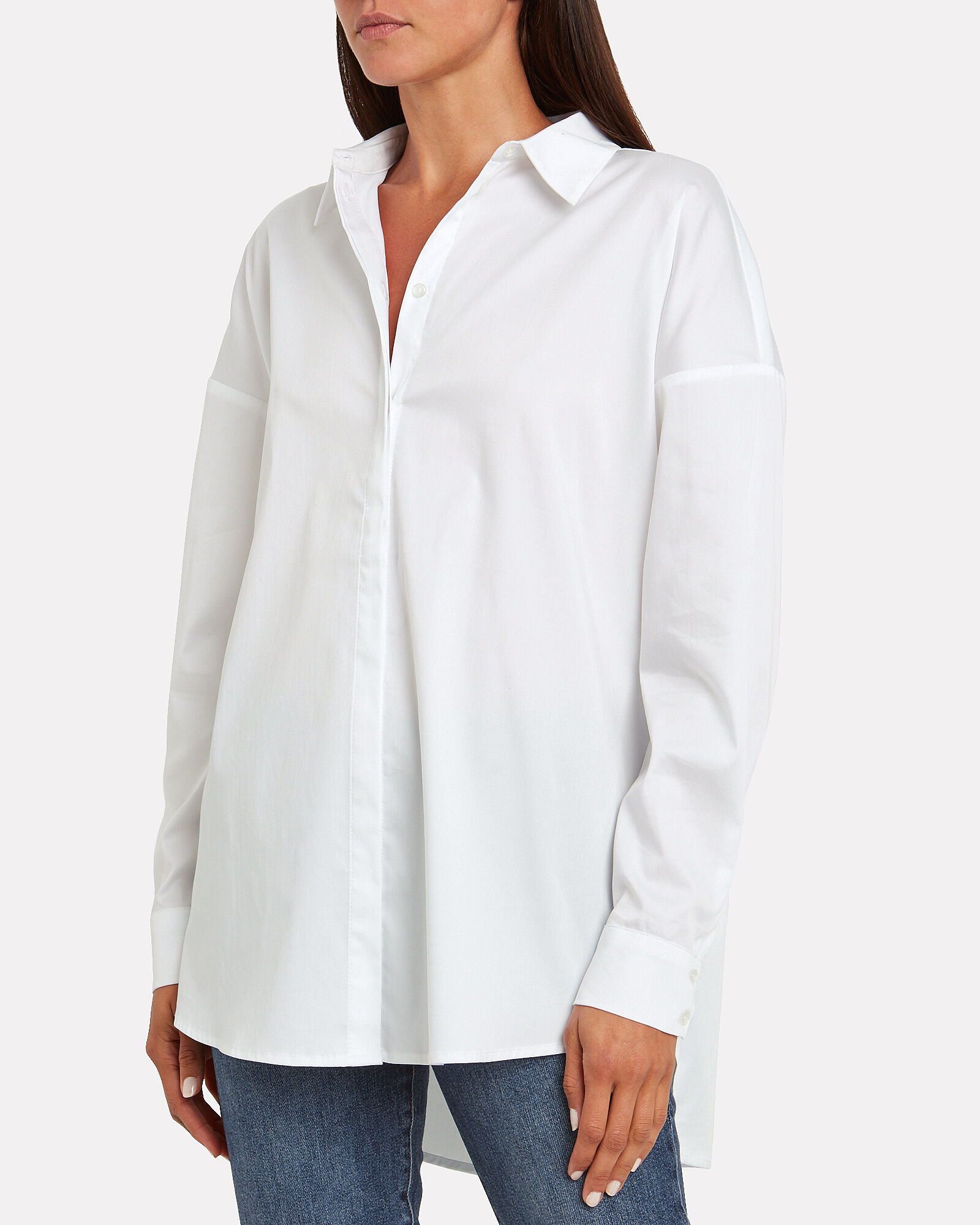 Kira Poplin Button Down Shirt, WHITE, hi-res