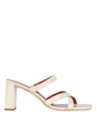 Lenny Leather Slide Sandals, IVORY, hi-res