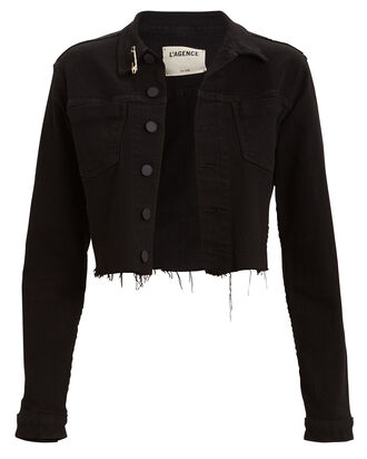 Aria Safety Pin Denim Jacket, BLACK, hi-res