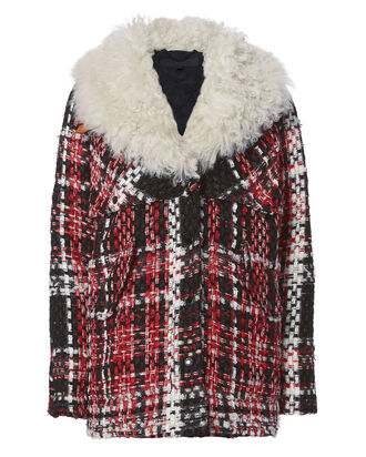 Antoine Faux Shearling Collar Tweed Jacket, RED, hi-res