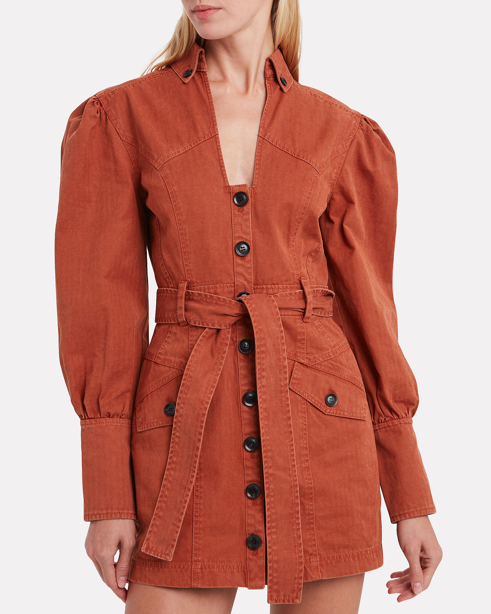 Mera Belted Cotton Canvas Dress, TERRACOTTA, hi-res