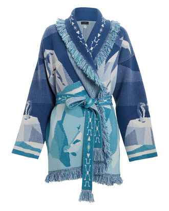 Iced Landscape Cashmere Cardigan, NAVY/CYAN, hi-res