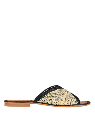 Salon Flat Sandals, BLACK/BEIGE, hi-res