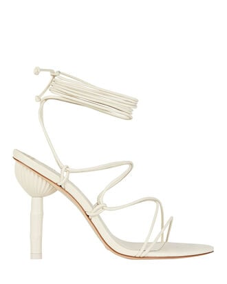Soleil Bamboo Heel Sandals, WHITE, hi-res