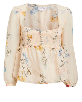 Paola Printed Top, BEIGE, hi-res