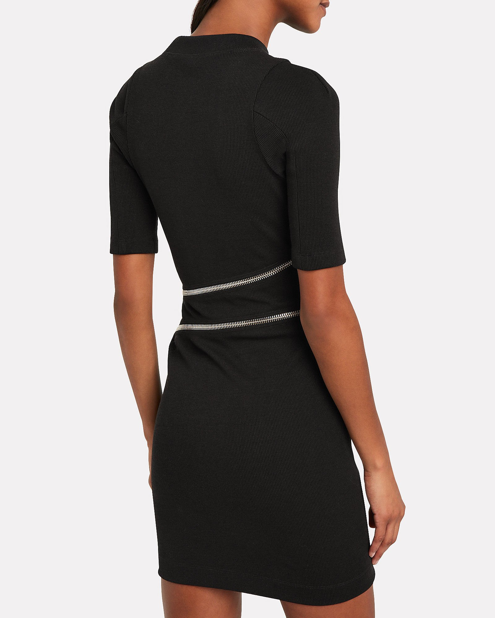Traveling Zipper Bodycon Dress, BLACK, hi-res
