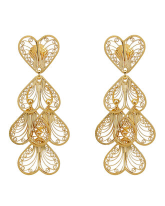 Abanico Heart Earrings, GOLD, hi-res