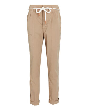 Casual Pleated Cargo Pants, BEIGE, hi-res