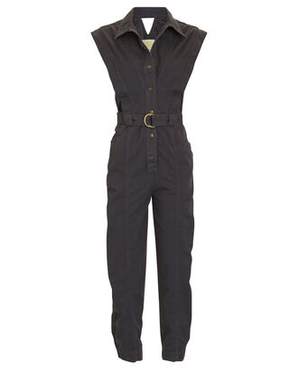 Lanux Sleeveless Belted Jumpsuit, CHARCOAL, hi-res