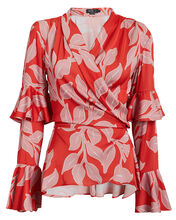 Leaf Print Ruffle Wrap Top, RED/PINK, hi-res