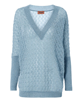 Wavy Knit Lurex Sweater, BLUE-LT, hi-res