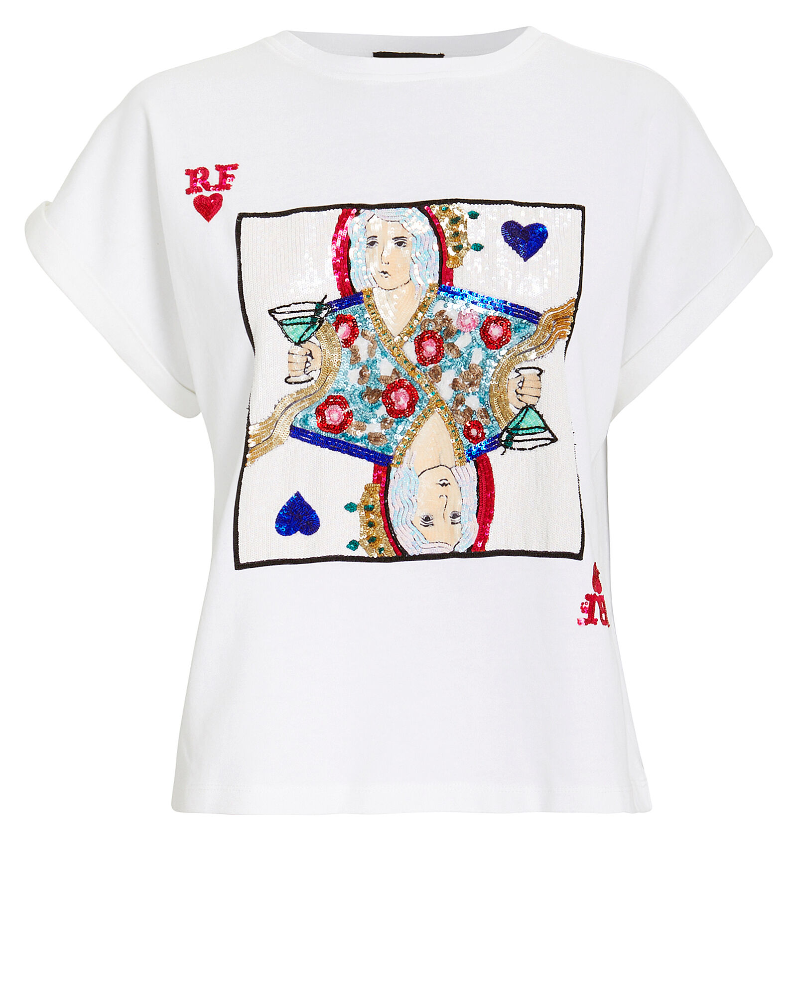 Arizona Sequin Playing Cards T-Shirt, WHITE, hi-res