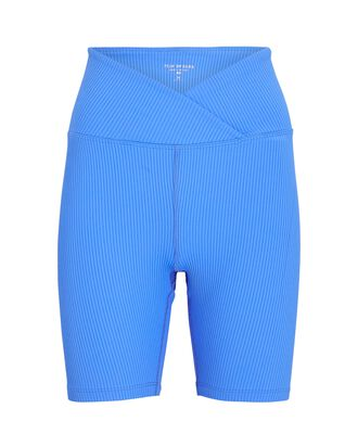 V-Waist Rib Knit Bike Shorts, BLUE, hi-res