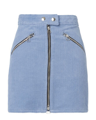 Racer Cord Mini Skirt, BLUE, hi-res