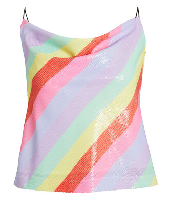 Clover Sequin Striped Camisole, RAINBOW/STRIPES, hi-res