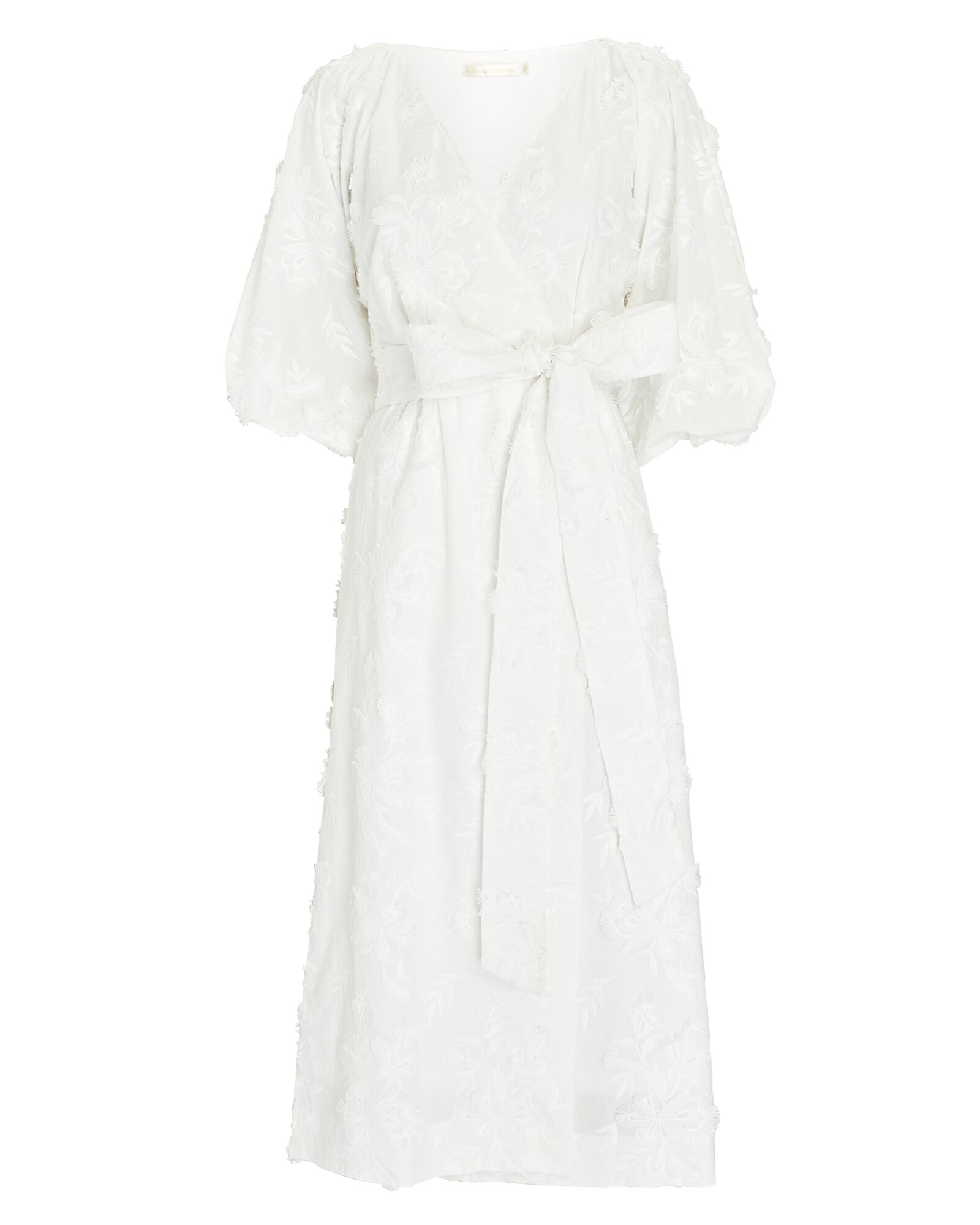 Tia Embroidered Midi Wrap Dress, WHITE, hi-res