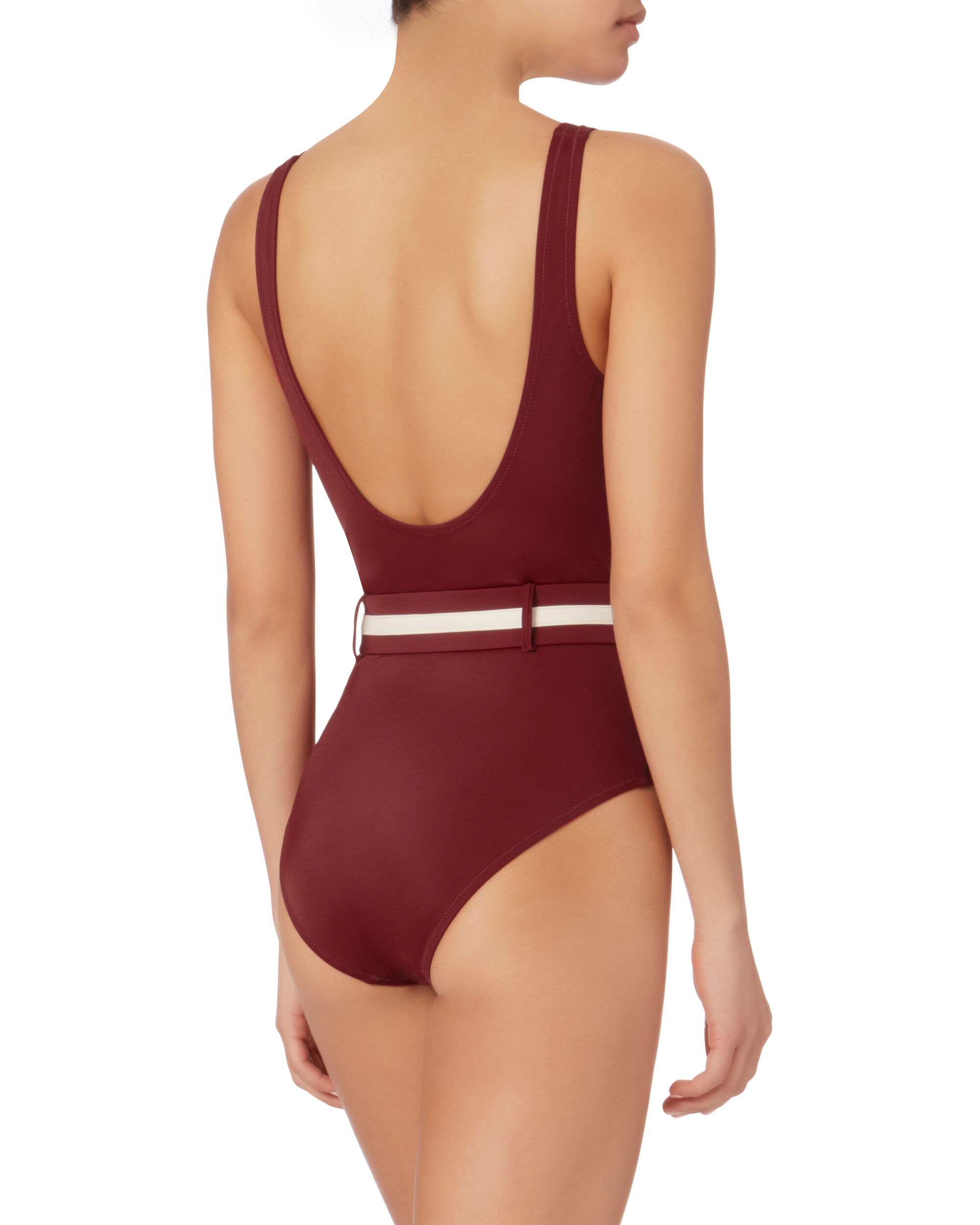 Victoria Belted Deep-V One Piece Swimsuit, RED-DRK, hi-res