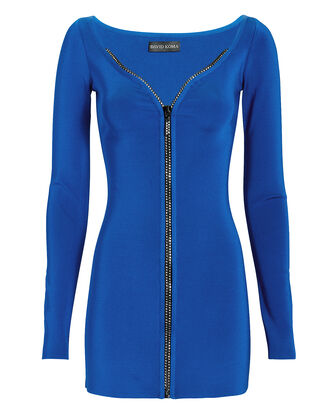 Crystal-Embellished Zip Front Dress, BLUE, hi-res